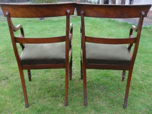 pair of georgian mahogany bar back carver open armchairs - photo angle #5