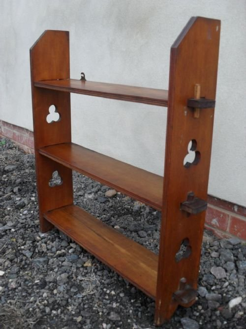 edwardian arts and crafts mahogany pierced side open bookcaseshelves