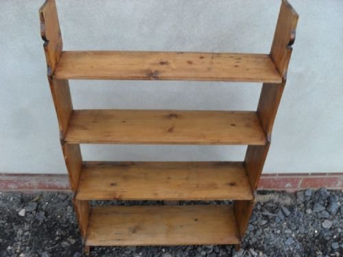 victorian pine free standing waterfall open bookcaseshelving unit