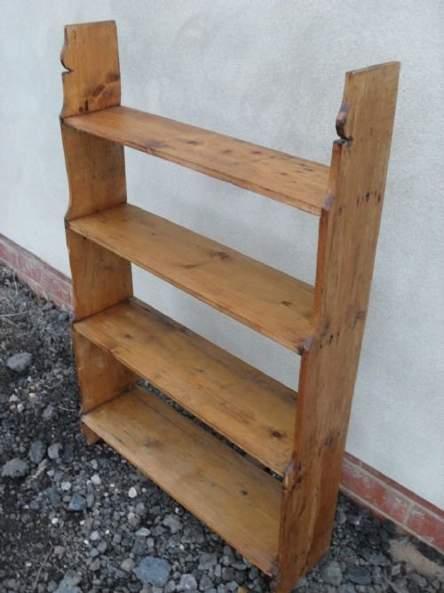 victorian pine free standing waterfall open bookcaseshelving unit - photo angle #2
