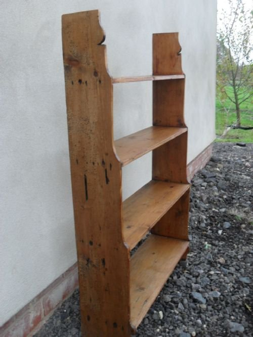 victorian pine free standing waterfall open bookcaseshelving unit - photo angle #3
