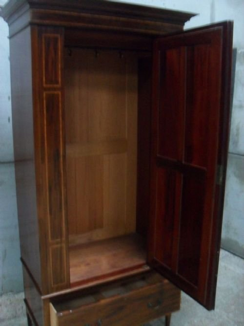 edwardian mahogany and satin inlaid bevell mirror door wardrobe - photo angle #2