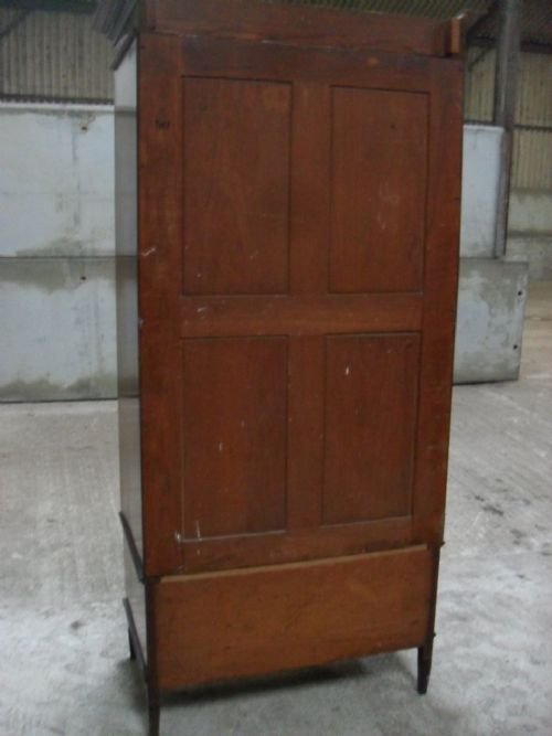 edwardian mahogany and satin inlaid bevell mirror door wardrobe - photo angle #3