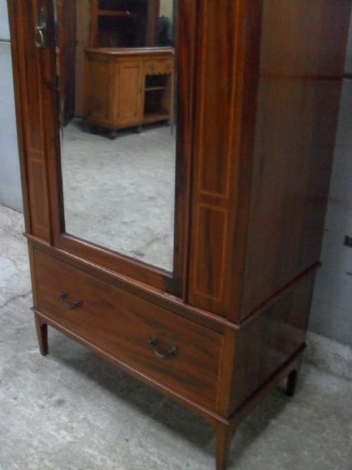 edwardian mahogany and satin inlaid bevell mirror door wardrobe - photo angle #4