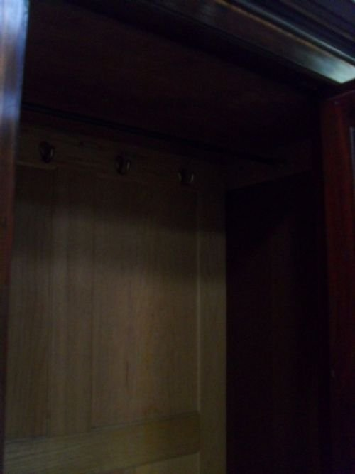 edwardian mahogany and satin inlaid bevell mirror door wardrobe - photo angle #5