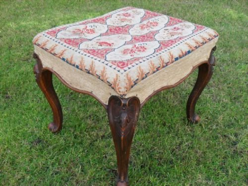 victorian carved cabriole leg beech wood upholstered dressing stool