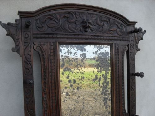 victorian carved oak bevel mirror hall coathatstick stand - photo angle #2