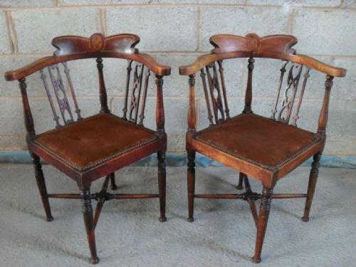 Pair Of Late Victorian Inlaid Mahogany Corner Armchairs ...