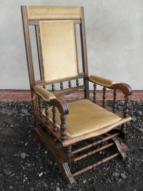 page load time 0.17 seconds - 19th Century Beechwood American Rocking Chair With Gold Braided
