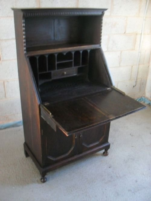 unusual edwardian oak bureau bookcase cabinet - photo angle #2