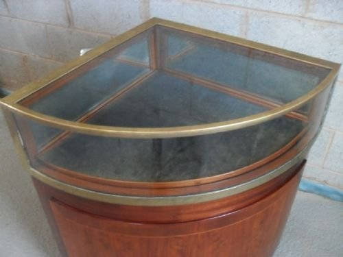 quality victorian mahogany and brass corner display cabinet - photo angle #5