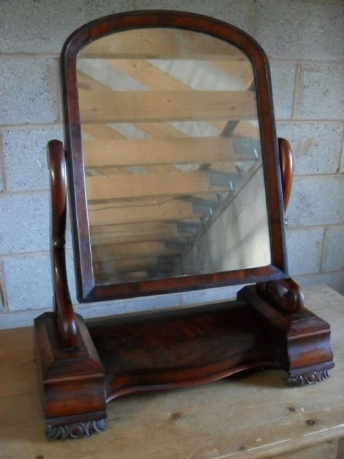 Victorian Flame Mahogany Arch Top 2 Drawer And Jewelry Box Dressing Table  Mirror