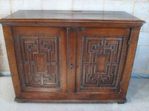 large georgian geometric panelled oak 2 door side cabinetcupboard