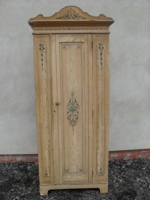 Slim Ornately Painted Victorian Pine Single Wardrobe 174368