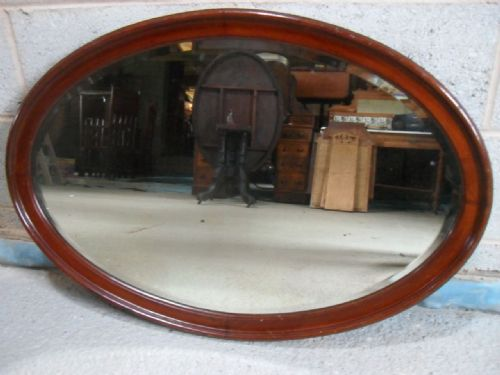 Victorian Mahogany Inset Framed Oval Bevel Edge Hanging