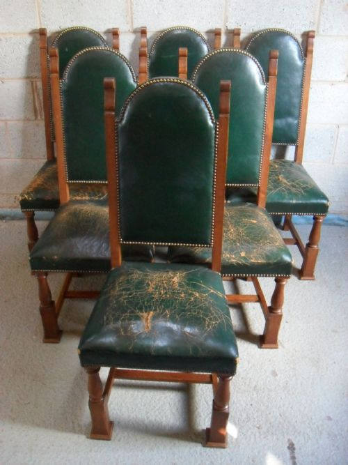 Set Of 6 Edwardian Oak And Leather Studded Arts Crafts High Back Dining  Chairs