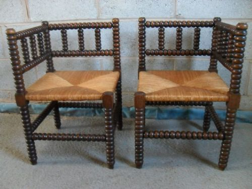 Lovely Pair Of Oak Bobbin Turned Corner Chairs With Woven Seagrass