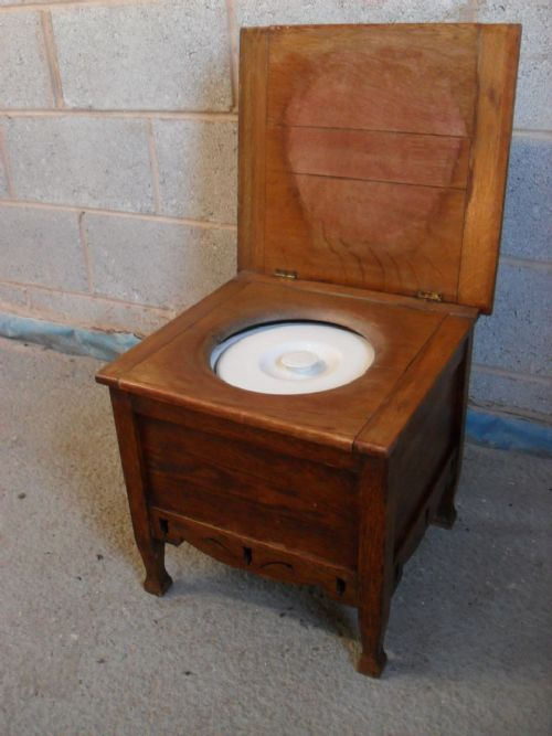 Arts Crafts Lift Up Lid Oak Commode Stool With Ceramic Pot