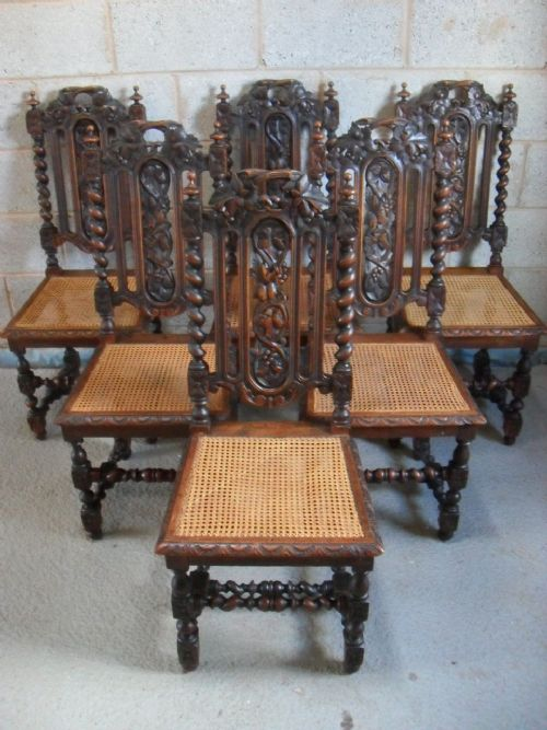 Set Of Six Victorian Carved Oak Barley Twist And Bergere Seat Dining Chairs