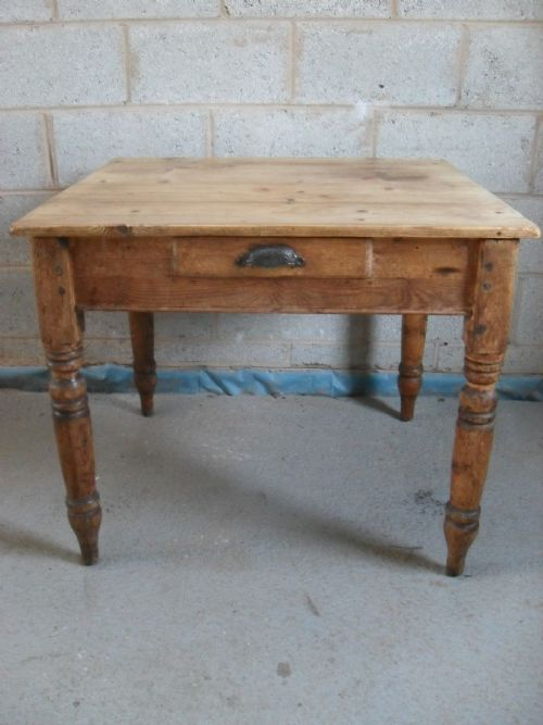 Victorian Pitch Pine Plank Top Square Kitchen Dining Table