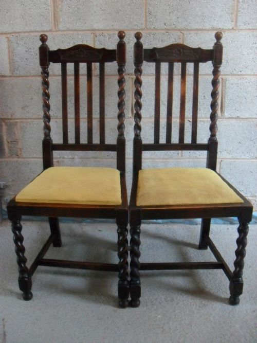 Pair Of Oak Barley Twist Slat Back Dining Chairs With Drop In Seats And H  Stretcher