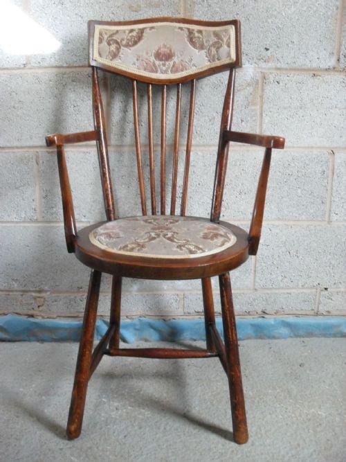 victorian beechwood stick back circular seat open windsor armchair