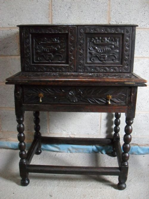 late 18th19th century carved oak fold out writing stationary desk cabinet