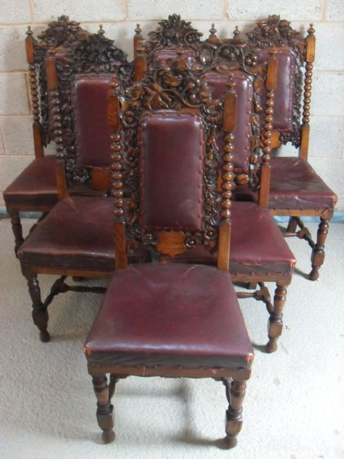 Set Of 6 Victorian Carved Oak High Back And Leather Dining