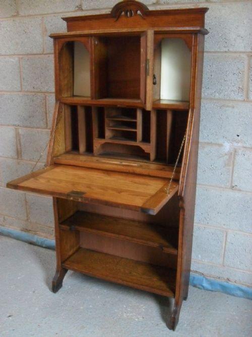 Slim oak arts crafts bureau bookcase with bevel mirror for Bureau with mirror