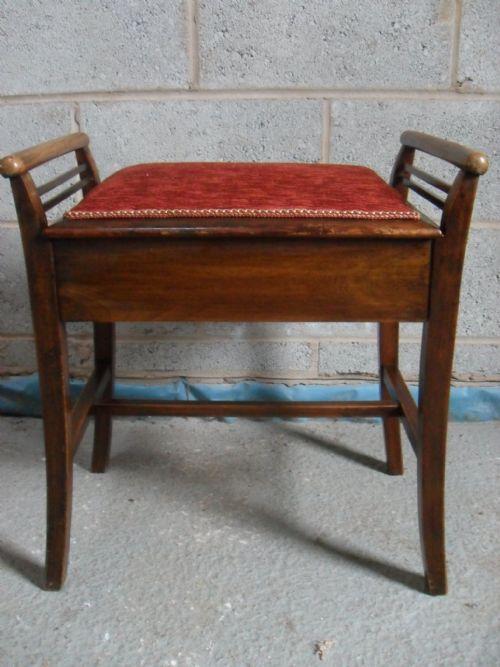 Victorian Edwardian Mahogany Storage Upholstered Seat Piano Stool