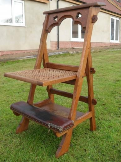 victorian gothic oak chairkneeler with fretted top
