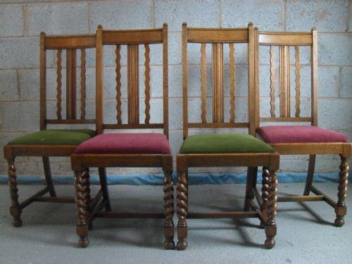 Set Of 4 Oak Wavey High Slat Back Barley Twist Dining Chairs