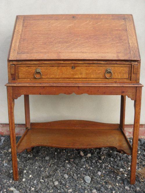 edwardian golden oak fall front bureau desk with large crossbanded drawer