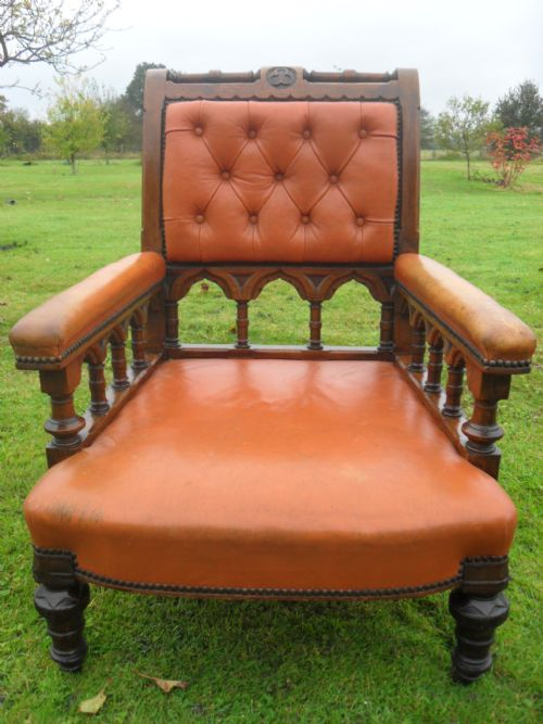 superb 19th century gothic revival golden oak button leather library armchair