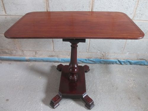 william iv mahogany rectangular tilt top table with birdcage support