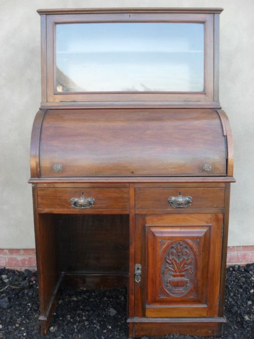 victorian carved walnut mahogany cylinder roll top desk with glazed bookcase
