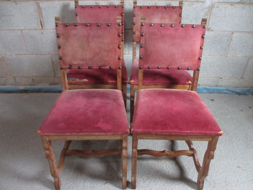 set of 4 sturdy oak spanish style padded back dining chairs
