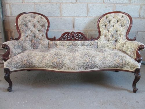 superb victorian showood mahogany serpentine button upholstered double end sofa settee