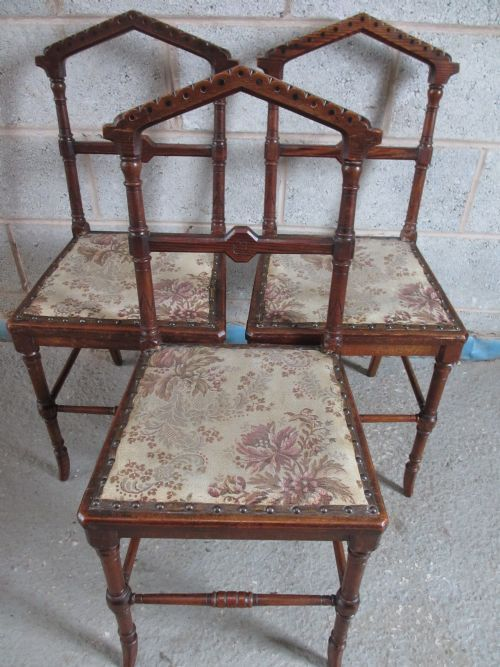 set of 3 victorian gothic pitch pine parlour side chairs