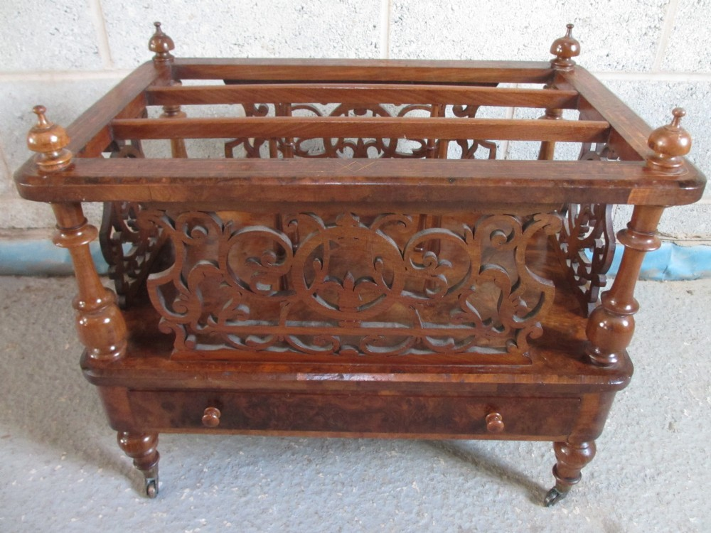 victorian burr walnut and inlaid fretwork canterbury
