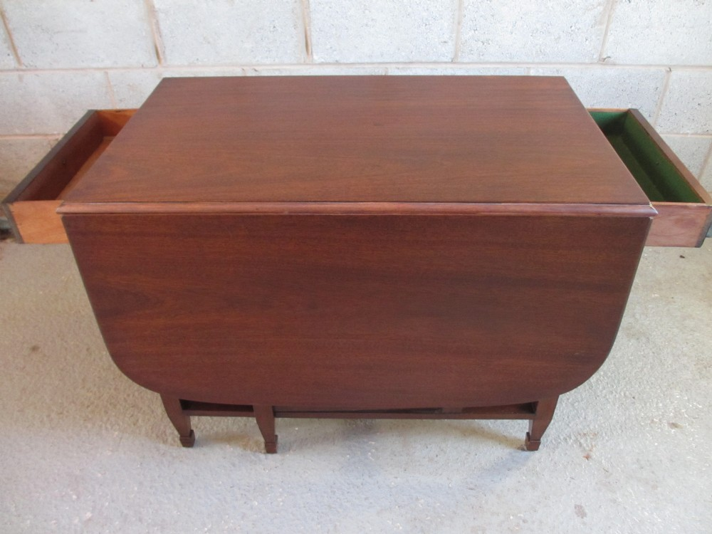 Victorian edwardian mahogany rectangular drop leaf gate leg twin drawer dining table 239919 - Gateleg table with drawers ...