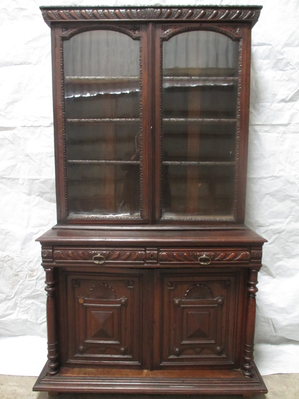 superb victorian carved oak glazed bookcase cabinet