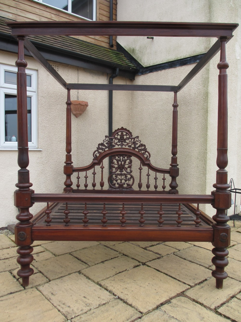 Superb 19th Century Carved And Fretwork Mahogany Four