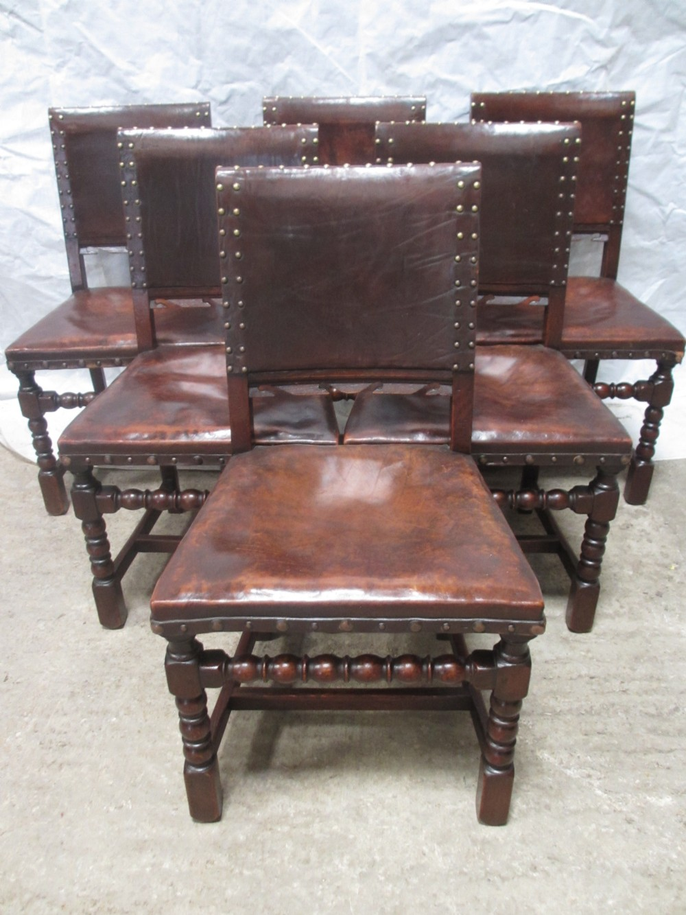 Lovely set of 6 oak studded leather cromwellian style for Studded dining room chairs