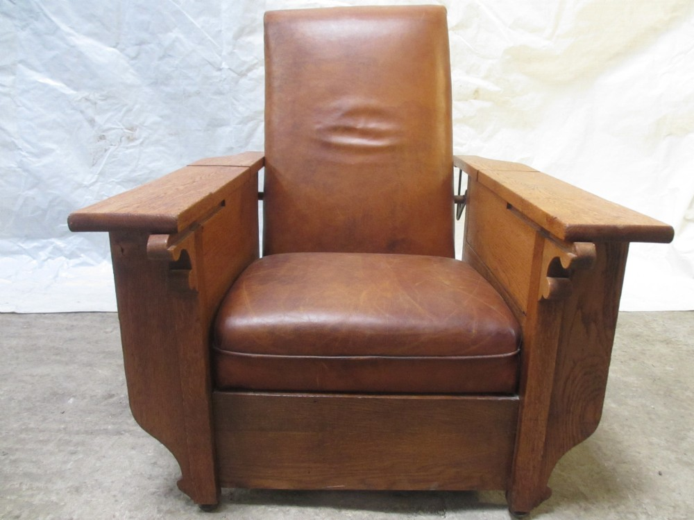 art deco foot sons oak and tan leather reclining armchair
