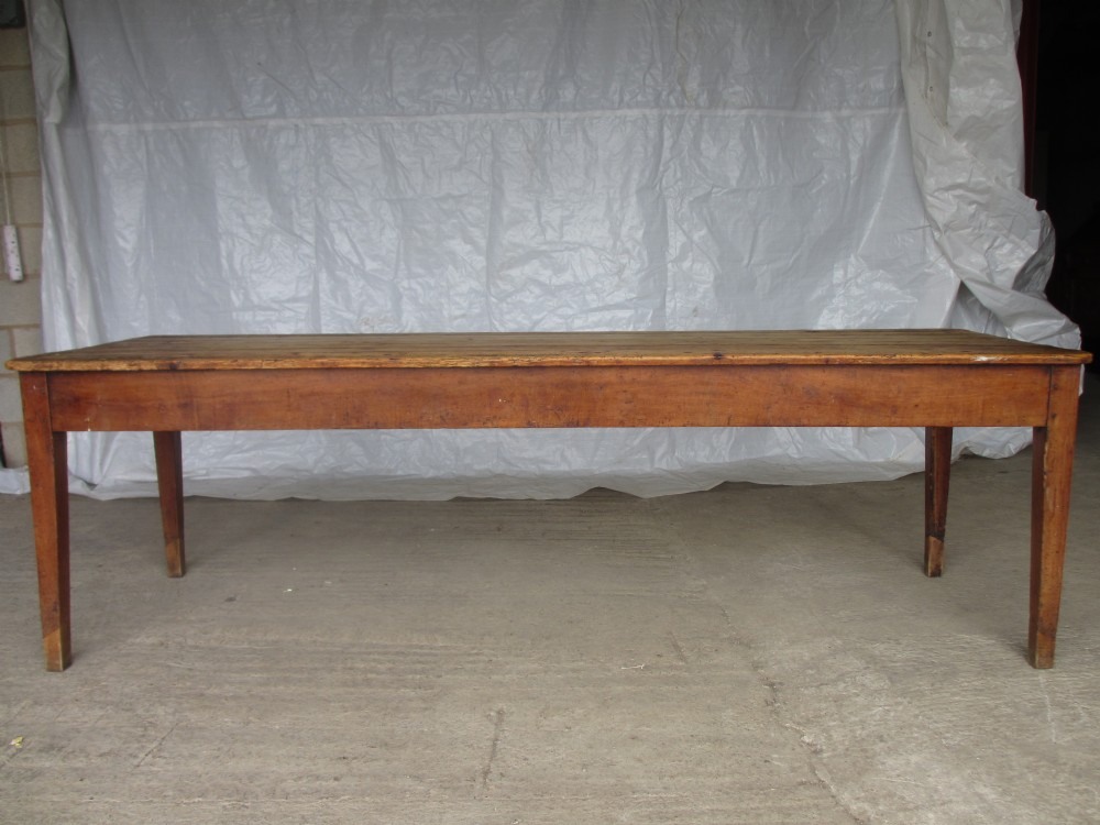 Superb Long Slim 19th Century Pine Fruitwood Farmhouse Kitchen Dining Table