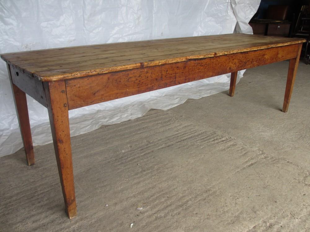 Superb Long Slim 19th Century Pine Fruit Wood Farmhouse Kitchen Dining Table    250547   Sellingantiques.co.uk