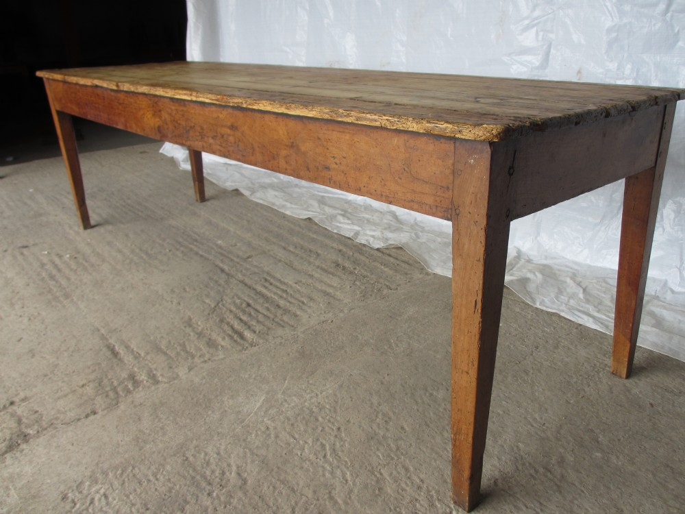 Superb long slim 19th century pine fruit wood farmhouse for Slim kitchen table