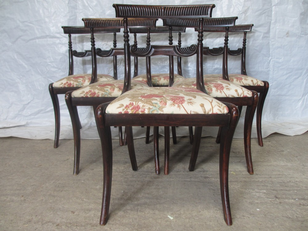 set of 6 regency mahogany carved bar back dining chairs