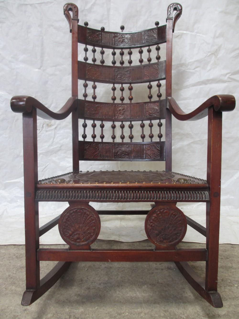 arts crafts bobbin and bar back birch rocking chair